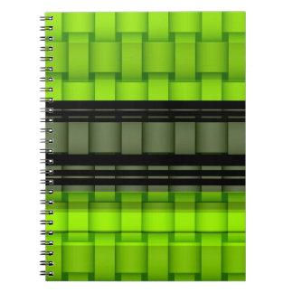 Verde y diseño gráfico del arte de mimbre de las r libreta espiral