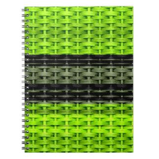 Verde y diseño gráfico del arte de mimbre de las r spiral notebooks