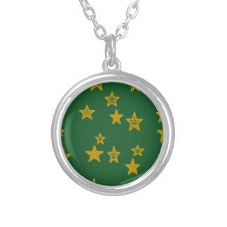 Verde y estrella del oro colgante redondo