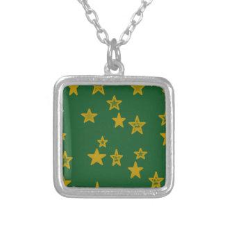 Verde y estrella del oro colgante cuadrado