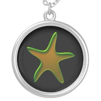 Verde y estrellas de mar del oro colgante redondo
