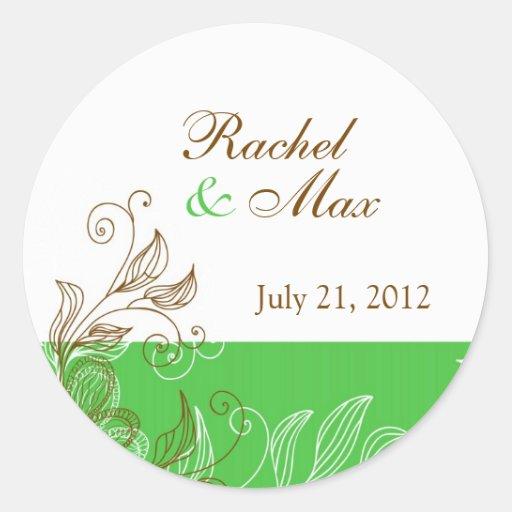 Verde y etiqueta floral del boda de Brown