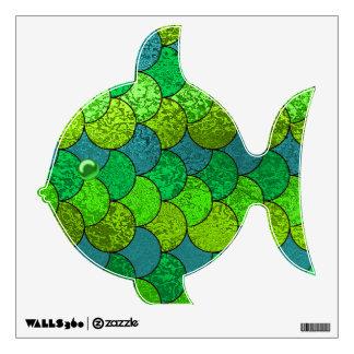 Verde y etiqueta Scaley de la pared de los pescado