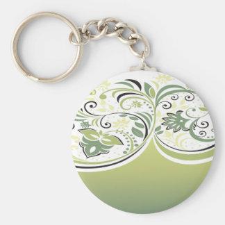 Verde y floral llaveros personalizados