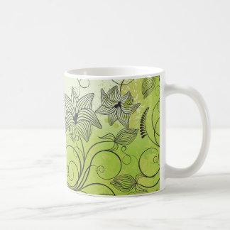Verde y flores - taza de la primavera - 1