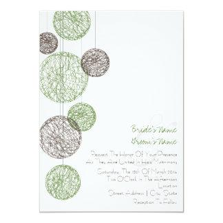 """Verde y globos de la guita de Brown que casan la Invitación 5"""" X 7"""""""