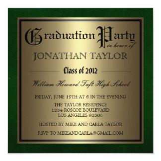 """Verde y graduación del oro invitación 5.25"""" x 5.25"""""""