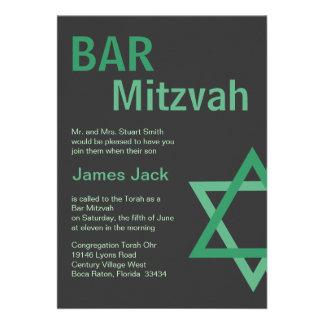 Verde y gris modernos de Mitzvah Invitiation- de l