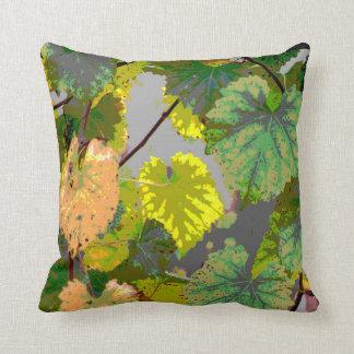 Verde y hojas del oro cojín decorativo
