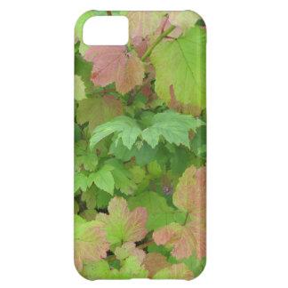 Verde y hojas rosas claras funda para iPhone 5C