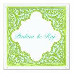 Verde y invitación del boda del marco del vintage
