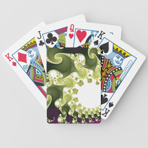 Verde y magenta del fractal cartas de juego