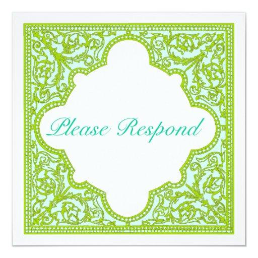 Verde y marco del vintage de la turquesa que casa invitaciones personales