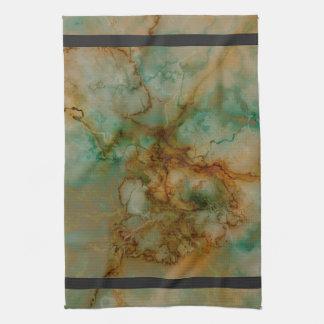 Verde y mármol del oro toalla de cocina