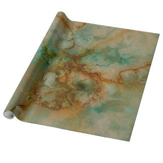Verde y mármol del oro papel de regalo