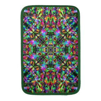 Verde y modelo de la mandala del arco iris funda para macbook air