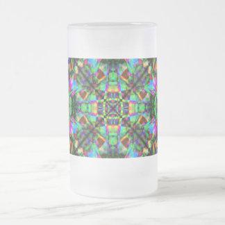 Verde y modelo de la mandala del arco iris taza de cristal