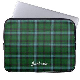 Verde y modelo de la tela escocesa de tartán de lo funda computadora