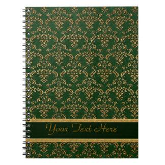Verde y modelo del damasco del oro libros de apuntes