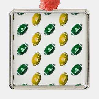 Verde y modelo del fútbol del oro adorno navideño cuadrado de metal