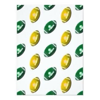 """Verde y modelo del fútbol del oro invitación 5.5"""" x 7.5"""""""