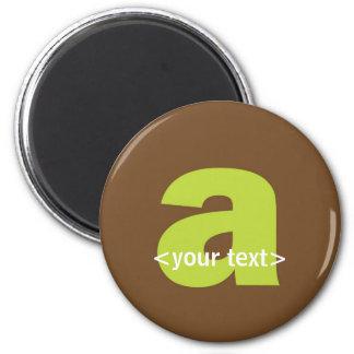Verde y monograma de Brown - letra A Imán Redondo 5 Cm