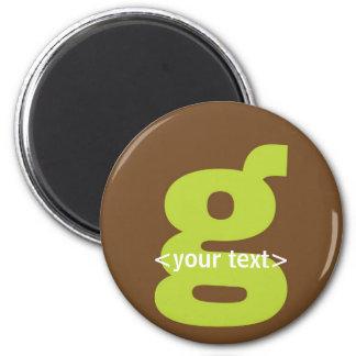 Verde y monograma de Brown - letra G Imán Redondo 5 Cm
