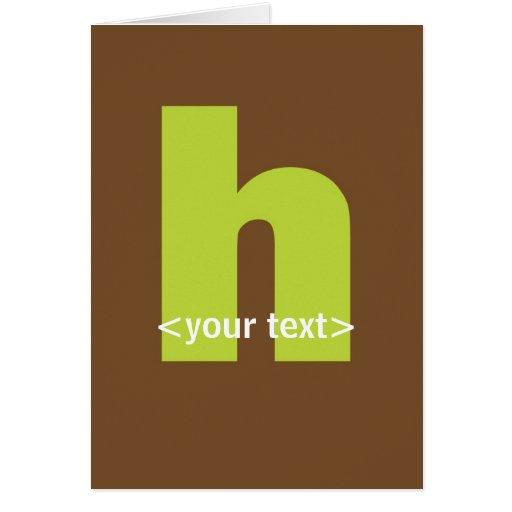 Verde y monograma de Brown - letra H Tarjeta De Felicitación