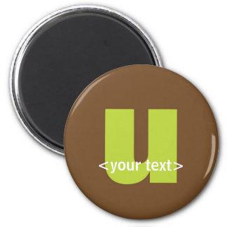 Verde y monograma de Brown - letra U Imán Redondo 5 Cm