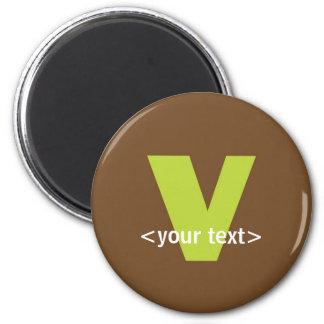 Verde y monograma de Brown - letra V Imán Redondo 5 Cm