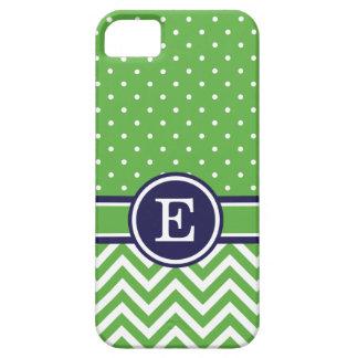 Verde y monograma de muy buen gusto de los puntos iPhone 5 carcasas
