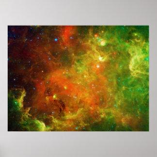 Verde y naranja de la nebulosa norteamericana póster