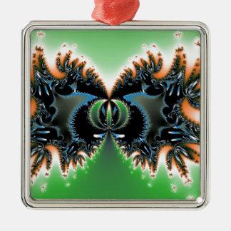 Verde y negro adorno navideño cuadrado de metal