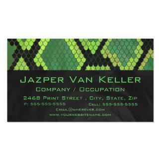 Verde y negro de la serpiente del monograma tarjetas de visita