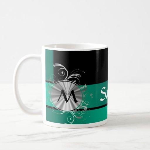 Verde y negro del trullo taza