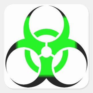 Verde y negro del zombi del símbolo del Biohazard Pegatina Cuadrada