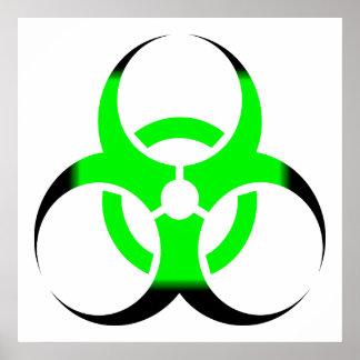Verde y negro del zombi del símbolo del Biohazard Póster