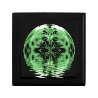 Verde y negro flotantes de la luna joyero cuadrado pequeño