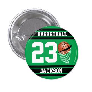 Verde y negro personalizados del baloncesto pin redondo de 1 pulgada
