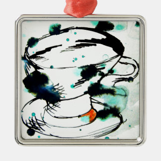 verde y negro, y una taza de té adorno navideño cuadrado de metal