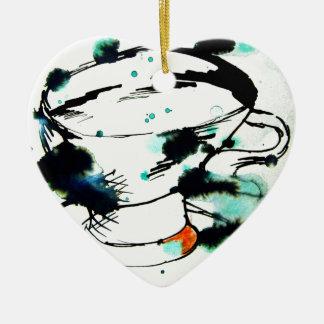 verde y negro, y una taza de té adorno navideño de cerámica en forma de corazón