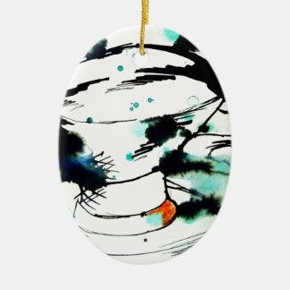 verde y negro, y una taza de té adorno navideño ovalado de cerámica
