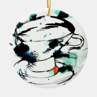 verde y negro, y una taza de té adorno navideño redondo de cerámica