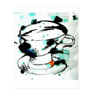 verde y negro, y una taza de té postales