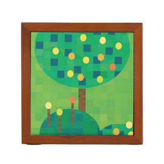 Verde y oro de la huerta de la fruta cítrica organizador de escritorio