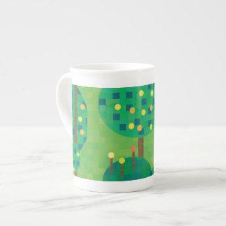 Verde y oro de la huerta de la fruta cítrica taza de china