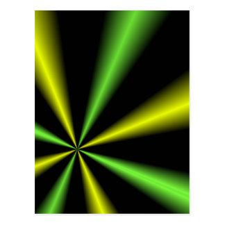 Verde y oro Lightbeams Tarjetas Postales
