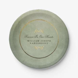 Verde y oro para siempre en nuestras placas del platos de papel