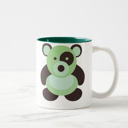 Verde y oso de panda de Brown Tazas