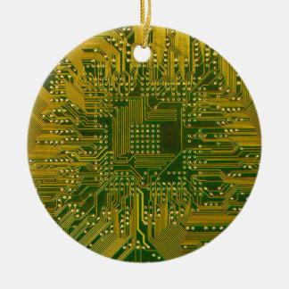 Verde y placa de circuito del ordenador adorno navideño redondo de cerámica